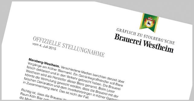 Brauerei Westheim Stellungnahme