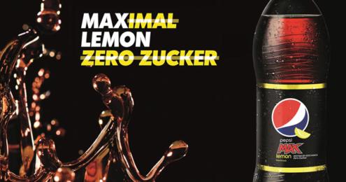 "Flasche Pepsi MAX Lemon mit dem Claim ""Maximal Lemon, Zero Zucker"""