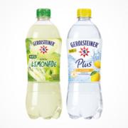 Flaschen Gerolsteiner Apfellimonade und Zitrone Plus