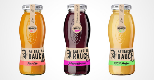 Katharina Rauch Fruchtsaftflaschen Apfel, Schwarze Johannisbeere und Aprikose