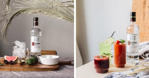 Cocktails mit Ketel One Flasche daneben