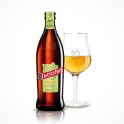 Flasche und Glas mit Duckstein Hopfenperle gefüllt
