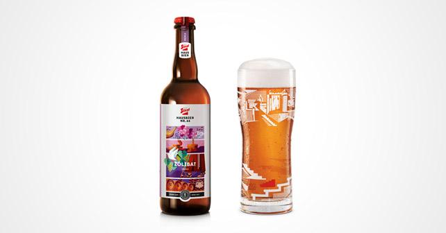 """Stiegl-Hausbier """"Zoelibat"""" Flasche und Glas"""