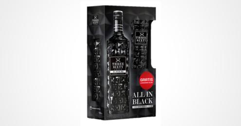 Three sixty vodka onpack schwarzes Glas