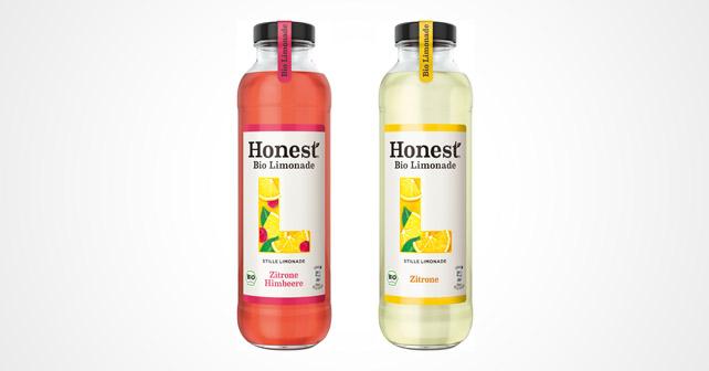 Honest bio limonade zitrone und zitrone himbeere Flaschen